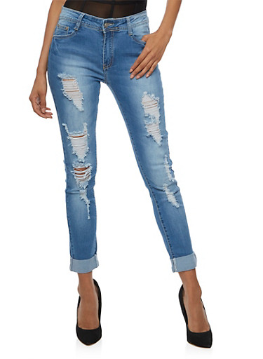 Ripped Roll Cuff Skinny Jeans,MEDIUM WASH,large