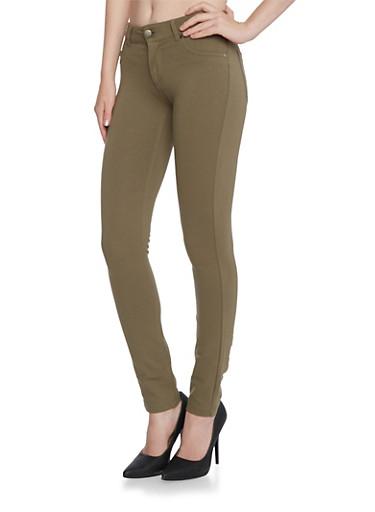Shinestar Ponte Knit Skinny Pants,OLIVE,large