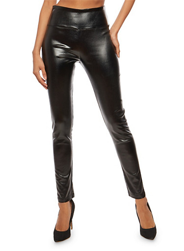 Metallic Faux Leather High Waisted Pants,BLACK,large