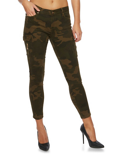 Cargo Skinny Pants in Camo Print,CAMOUFLAGE,large