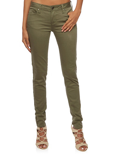 Colored Skinny Jeans,OLIVE,large