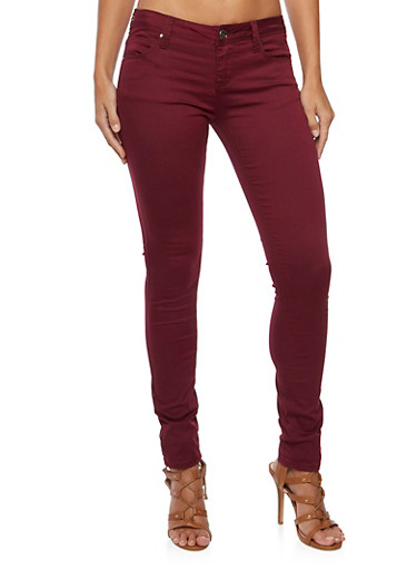 Colored Skinny Jeans,BURGUNDY,large