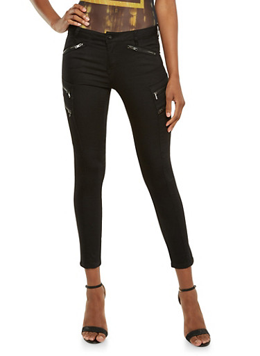 Stretch Jeans with Zip Cargo Pockets,BLACK,large