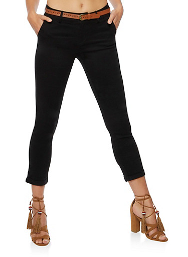 Skinny Twill Pants with Faux Leather Belt,BLACK,large