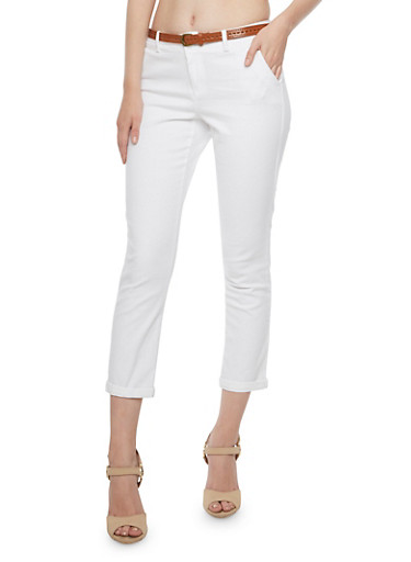 Belted Welt Pocket Pants with Rolled Hems,WHITE,large