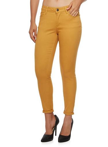 Colored Skinny Jeans,MUSTARD,large