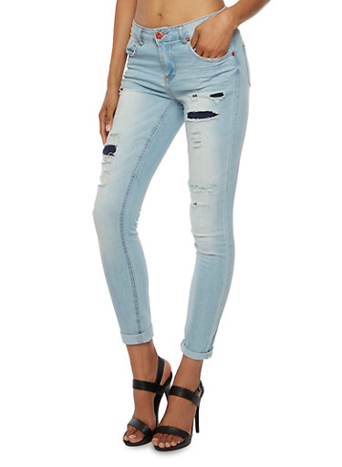 Highway Jeans Five-Pocket Jeans with Backed Distressing,LIGHT WASH,large