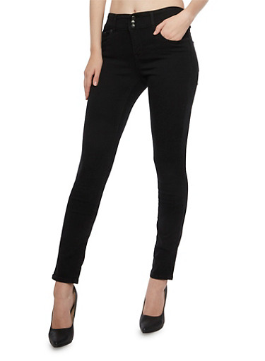 Highway Jeans High Waisted Five Pocket Skinny Jeans,BLACK,large