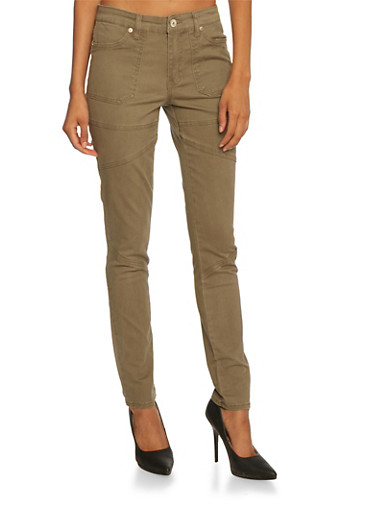 Highway Jeans with Stretch and Architectural Paneling,OLIVE,large