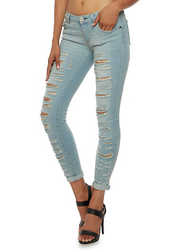 Highway Jeans Distressed Stretch Jeans with Classic Five Pocket Design,MEDIUM WASH,large