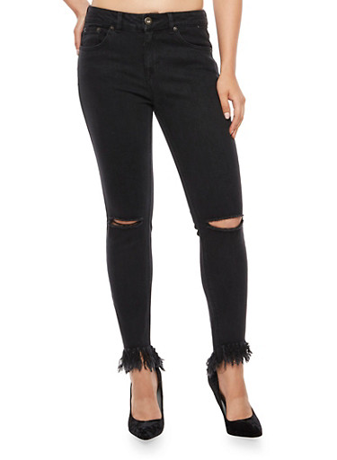 Highway Skinny Jeans with Frayed Hem,BLACK,large