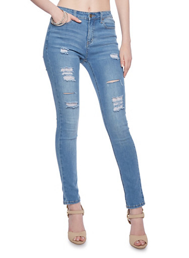 WAX Jeans Distressed Skinny Jeans,LIGHT WASH,large