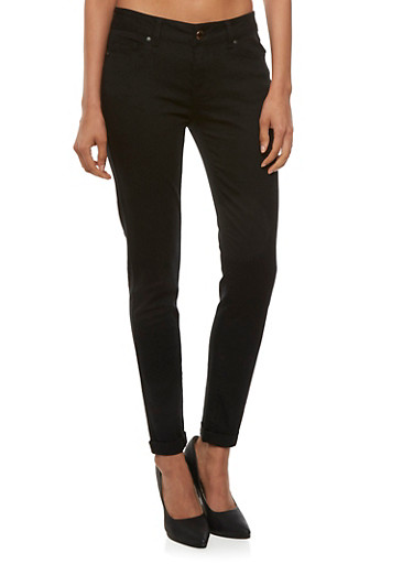 WAX Colored Skinny Jeans with Rolled Cuffs,BLACK,large