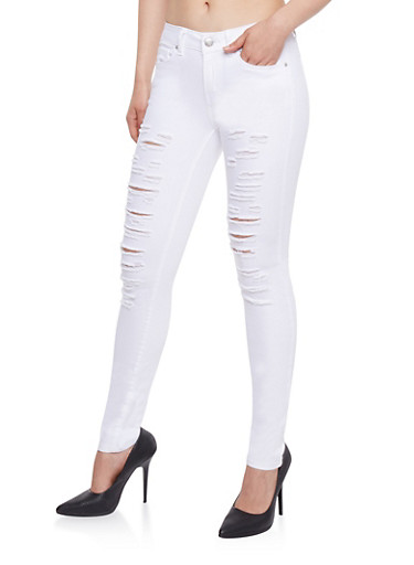WAX Slashed Skinny Jeans,WHITE,large