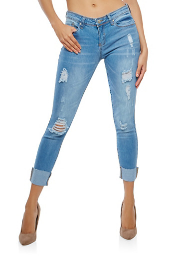 WAX Destroyed Cuffed Skinny Jeans,LIGHT WASH,large