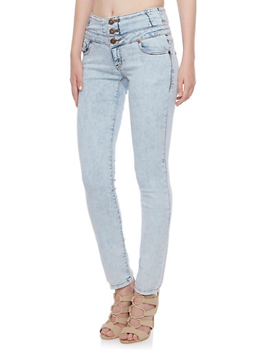 Wax High Waisted Stretch Jeans,LIGHT WASH,large
