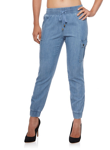 Wax Chambray Joggers with Cargo Pockets,LIGHT WASH,large