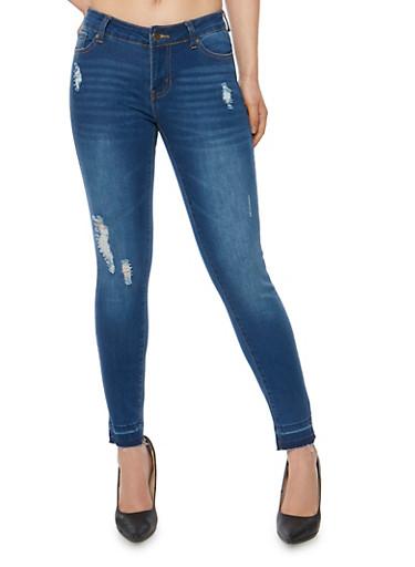 Wax Distressed Skinny Jeans with Raw Cut Hem,MEDIUM WASH,large