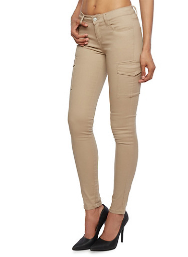 WAX Jeans Twill Cargo Skinny Pants,KHAKI,large
