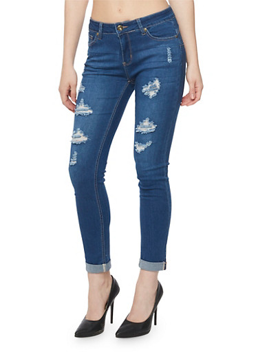 WAX Distressed Denim Jeans,MEDIUM WASH,large