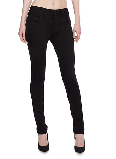 Wax Skinny Jeans with Three Buttons,BLACK,large