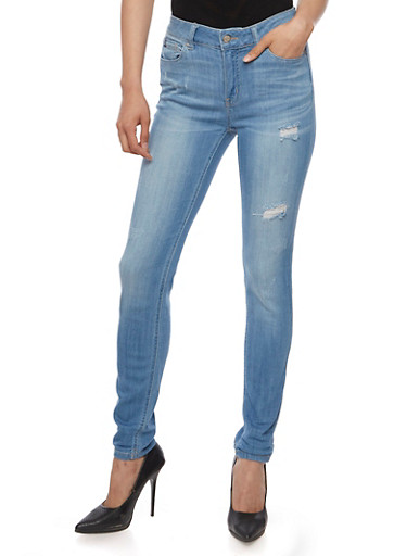 Wax Whisker Wash Skinny Jeans,LIGHT WASH,large