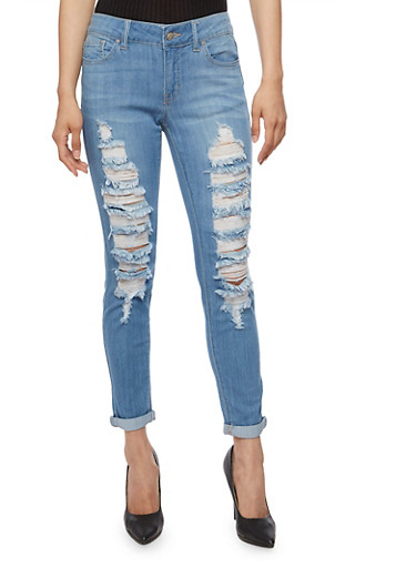 WAX Destroyed Roll Cuff Skinny Jeans,LIGHT WASH,large