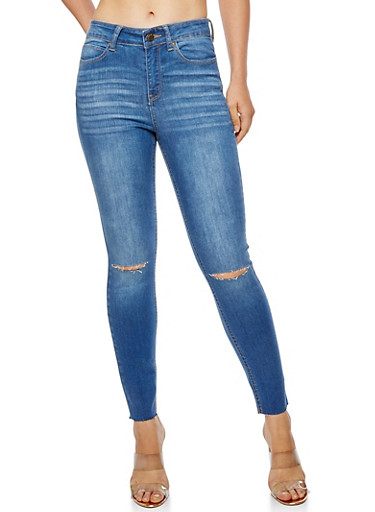 WAX Cropped Slit Knee Jeans,MEDIUM WASH,large