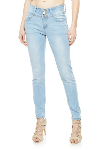 Wax Push Up Triple Button Jeans,LIGHT WASH,large