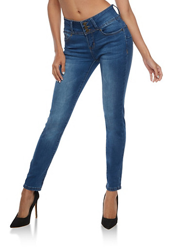 Wax Push Up Triple Button Jeans,MEDIUM WASH,large