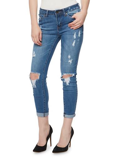 WAX Distressed Rolled Cuff Skinny Jeans,MEDIUM WASH,large