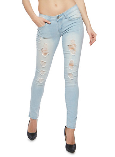 WAX Distressed Light Wash Skinny Jeans,LIGHT WASH,large