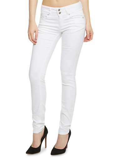 Wax 2 Button Skinny Jeans,WHITE,large