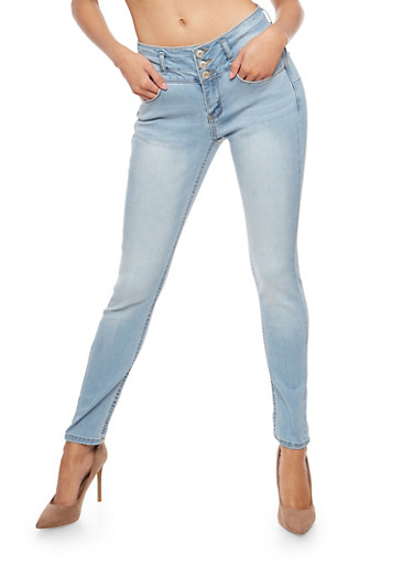 WAX Wide Waist Push Up Jeans,LIGHT WASH,large