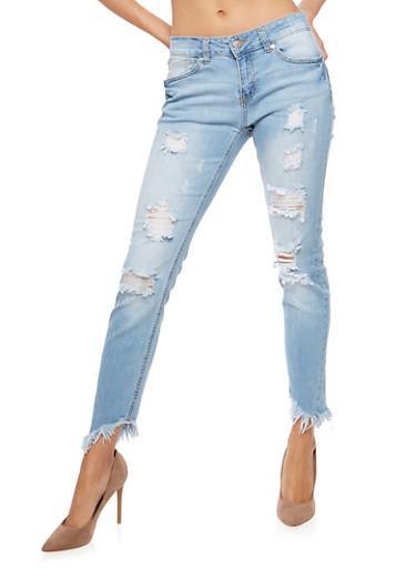WAX Asymmetrical Frayed Hem Push Up Jeans,LIGHT WASH,large