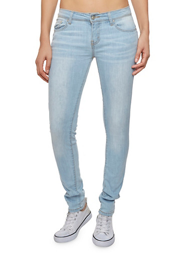 Wax Skinny Jeans with Whisker Wash Details,LIGHT WASH,large