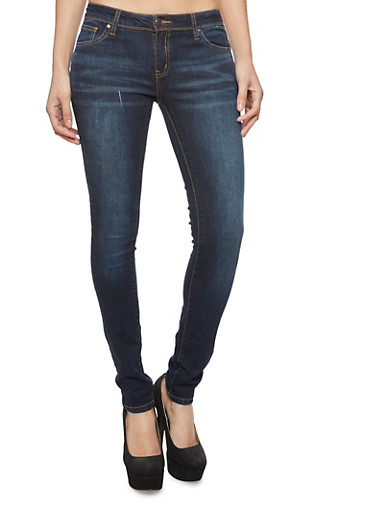 Wax Skinny Jeans with Whisker Wash Details,DARK WASH,large