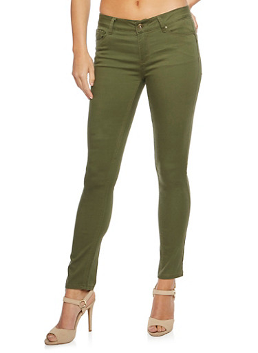 WAX Jeans Five-Pocket Design with Stretch,OLIVE,large