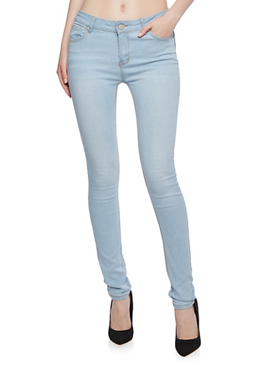Wax Skinny Jeans,LIGHT WASH,large