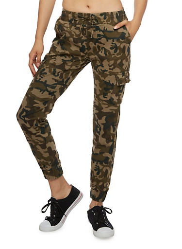 Camo Pring Cargo Joggers with Drawstring Waist,CAMOUFLAGE,large