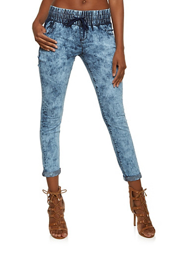 Acid Wash Denim Pants with Drawstring Waist,INDIGO,large