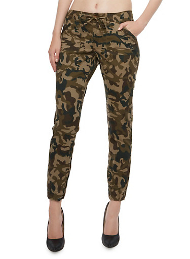 Camo Joggers with Drawstring Waist,CAMOUFLAGE,large