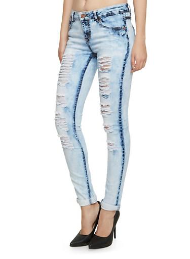 Destroyed Skinny Jeans in Bleach Wash,NOVELTY WASH,large