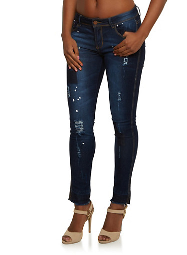 Distressed Skinny Jeans with Patchwork and Frayed Hems,INDIGO,large