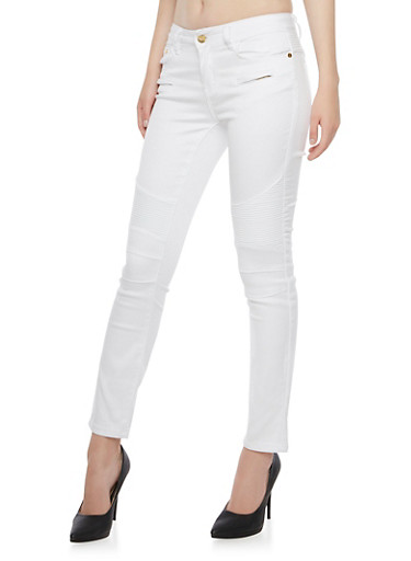 Moto Skinny Jeans with Ribbed Panels,WHITE,large