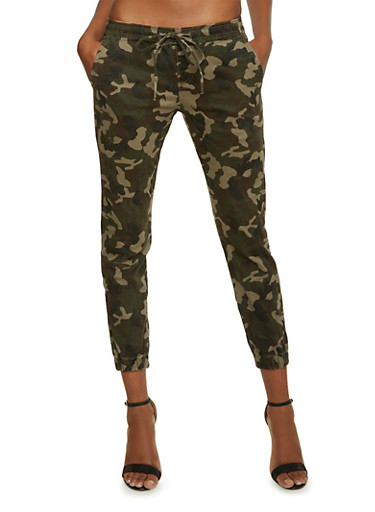 Camo Print Joggers,CAMOUFLAGE,large