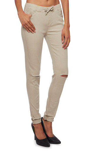 Drawstring Pants with Slash Cut Knees,KHAKI,large