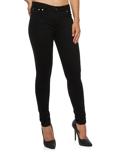 Twill Skinny Pants,BLACK,large
