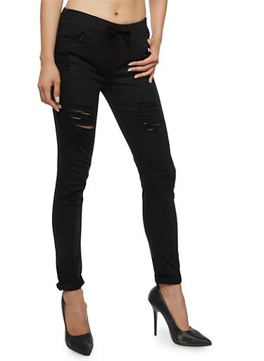Ripped Skinny Pants,BLACK,large