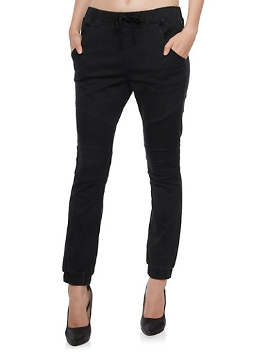 Moto Joggers with Drawstring Waist,BLACK,large